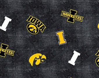University of Iowa from Sykel Enterprises - Full or Half Yard Iowa Hawkeyes Fabric