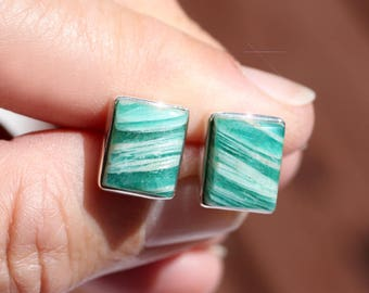 Sea Breeze - Russian Amazonite and Sterling Silver Stud Earrings