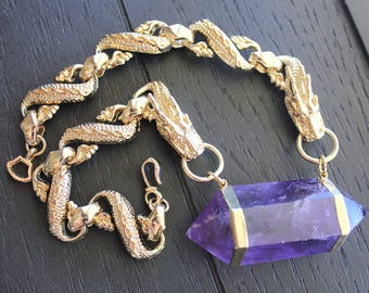 Amethyst Necklace Amethyst Jewelry Dragon Necklace Dragon Jewelry Game Of Thrones Necklace Cosplay Necklace Quartz Point Necklace Mystic