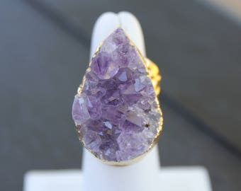 Amethyst Ring Amethyst Jewelry Gold Amethyst Ring Amethyst Ring Gold Amethyst Cuff Ring Natural Amethyst Ring Raw Amethyst Ring Geode Ring