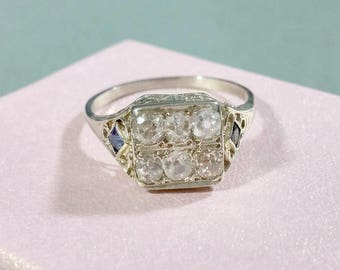 Antique 18k White Gold Antique Diamond Ring Six Old Cut Diamonds Hand Cut Ca. 1910 Gold Ring Two Blue Sapphires .48 ctw Diamond Weight