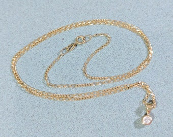 Vintage 375 9k Gold Necklace with Petite Clear Cubic Zirconia Pendant Solitaire 18 inch Chain Gold Solid Yellow Gold Fine Chain 1 mm Chain