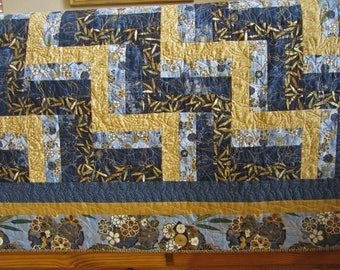 Blue Quilt, Asian Inspired Quilt, Rail Fence Quilt, Handmade Quilt, Lap Quilt, Throw Quilt, Home Decor
