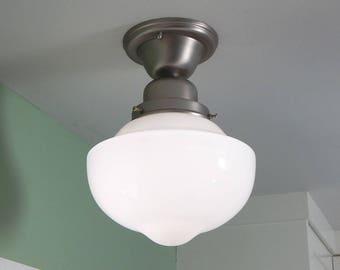 Semi Flush Opal Ceiling Light. Vintage Glass Shade. New Satin Nickel Fixture