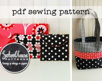 2 patterns 1 price - Easy Wallet & Patchwork Tote - Pdf sewing pattern - digital INSTANT DOWNLOAD