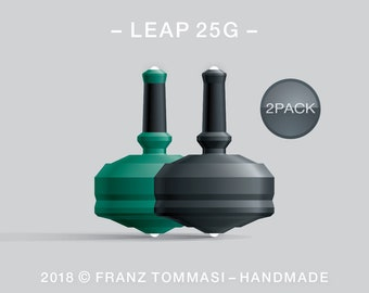 Leap 25G-2Pack (Green-Black) –Value-priced set of spin tops with dual ceramic tip and rubber grip