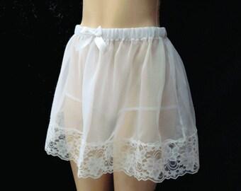 """sissy slip skirt in Chiffon Slip Skirt lenght 14"""" long"""