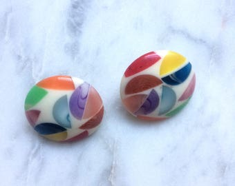Vintage 1960s Italian plastic multicoloured clip-on earrings / round concave sixties costume earrings