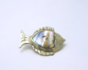 Sterling Abalone Fish Brooch - Taxco
