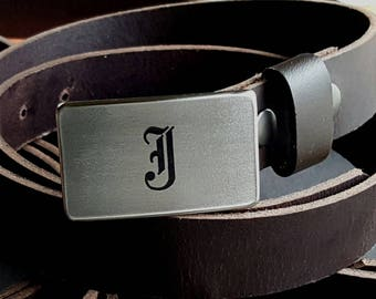 Personalized Groomsmen Gifts ~ Wedding Belt & Buckle Set Monogrammed Accessories Stainless Steel Keepsake Hypoallergenic Buckle and Leather