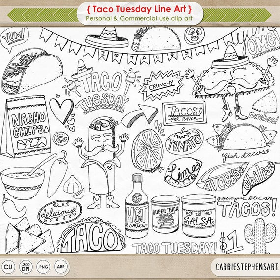 Taco Tuesday Line Art Cinco De Mayo Digital Graphics