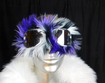Purple Furry Monster Dust Goggles Great fur Burning Man! - Furry Aviator Goggles -Fur Motorcycle Goggles -Purple and Black fur Goggles