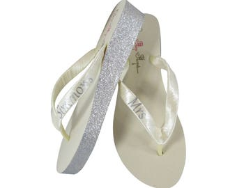 Silver Glitter Ivory or White Wedge Flip Flops, Wedding Bride Sandals with Mrs Last Name and Customized Bling Sides