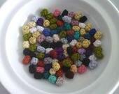 SALE Moroccan art silk  beads/buttons,handmade, mini fiber buttons mixed colours,  set of 100