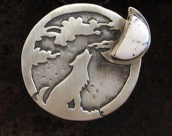 Wolf Howling at the Moon Pendant, Sterling Silver with White Buffalo Turquoise