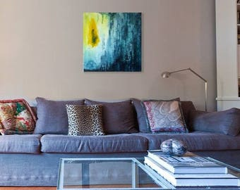 Original painting canvas art. Acrylic abstract artwork, blue teal yellow, contemporary modern. Interior decor wall art