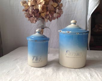 Antique French Enamelware Blue & Cream Canister Coffee / Cafe Storage Jar Rustic Farmhouse Thanksgiving House Warming gift