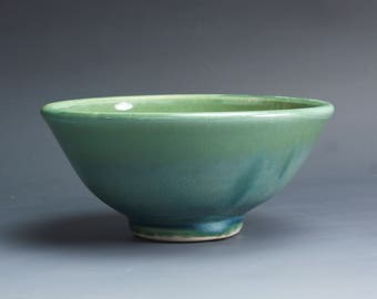 Handmade pottery bowl jade green porcelain serving or pottery salad bowl 18 oz - 4042