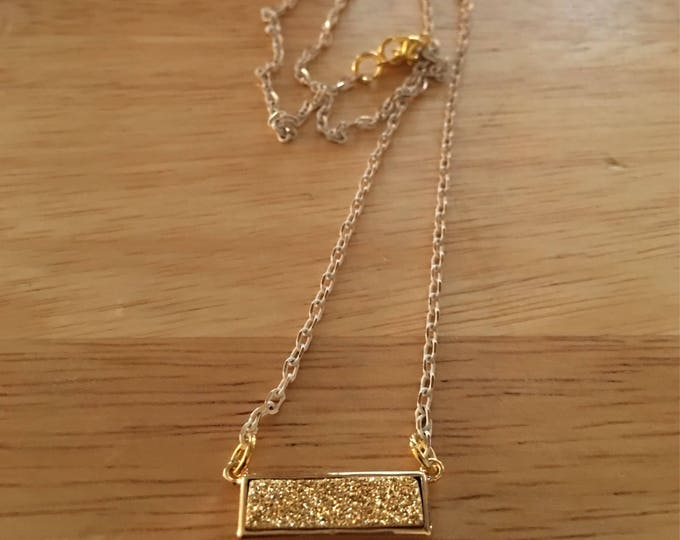 Gold Druzy Bar Necklace