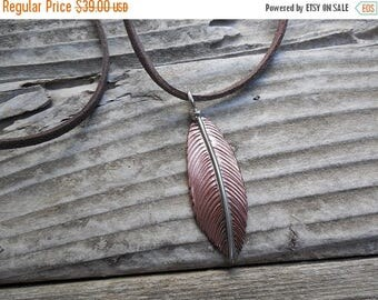 ON SALE Leather necklace in copper and sterling silver
