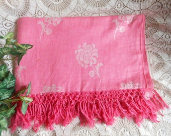 Fringe Bright Pink Damask Tablecloth Dahlia Vintage at Quilted Nest