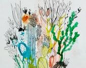 Hob Nob - Mixed media abstracti cacti- 11x15