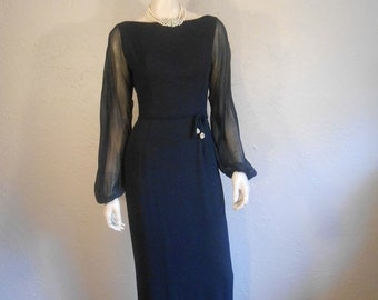 Anniversary Sale 35% Off Sultry Sultress - Vintage 1950s Navy Chiffon Long Cocktail Evening Gown Dress Black Tie  - 4/6