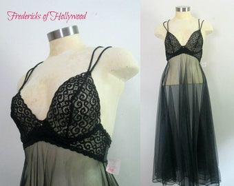 Black Lace Lingerie Gown Fredericks of Hollywood Boudoir Bedroom Honeymoon