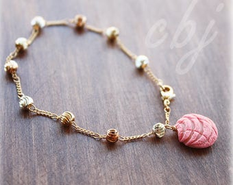 Pan Dulce Bracelet, Concha Bracelet, Pan Dulce charm on a gold filled bracelet, Handmade out of polymer clay