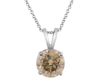 10% ON SALE Platinum Natural Champagne Brown Diamond Solitaire Pendant Necklace Certified 1.01 Carat Handmade