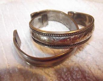 Vintage Cuff Bracelets, Silver Tone Bracelets, Cuff Bracelets