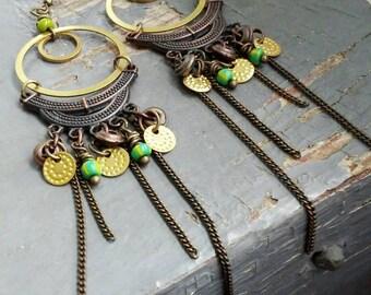 Free Spirit -  copper metalwork,bronze layered hoop, chain & green tribal trade bead gypsy chandelier earrings