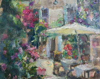 Alacati, Turkey, Stone House, Boutique Hotel, romantic painting, flower garden, palette knife, for her, bedroom art, courtyard painting