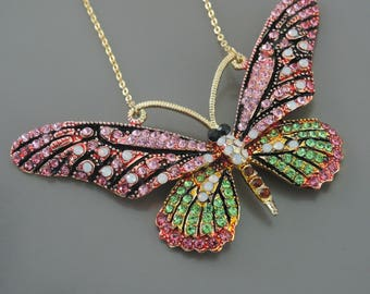 Butterfly Necklace - Statement Necklace - Rhinestone Necklace - Pink Necklace - Green Necklace - Opal Necklace - Handmade Jewelry