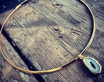 Quartz and Brass Choker Necklace