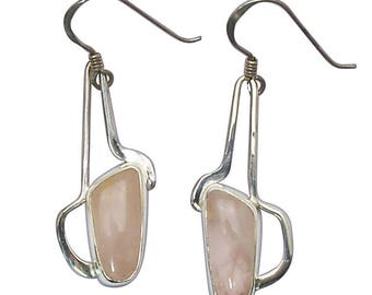 Rose Quartz and Sterling Silver Drop Earrings, erqd2851
