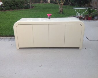 "MOD LACQUERED CABINET 78"" long / Karl Springer Style Waterfall Credenza Cabinet Side Board / Ello Style / Ready for a Re do Retro Daisy Girl"