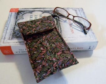 Pink and Black Leaves Glasses Case