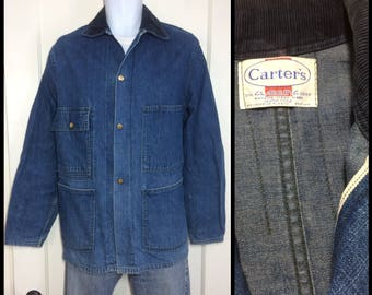 1960's Indigo Blue Vintage Denim Carter's Chore Jacket looks size Medium Union Made in USA Selvedge and great patina #1934