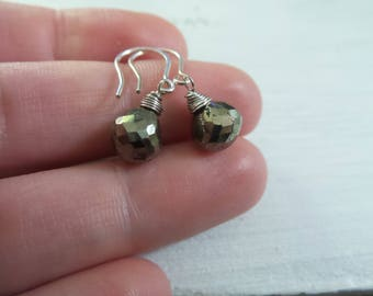 Pyrite Earrings, Pyrite Jewelry, Gift Women, Gemstone Jewelry, Silver Pyrite Earrings, Minimalist Earrings, Gifts Under 20, Gifts For Her