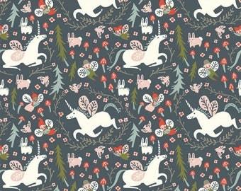 Organic KNIT Fabric - Birch Folkland Knit - Enchanted Unicorns in Dusk Knit