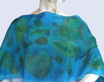 Silk Scarf Eco Resist Printed Solar Dyed Habotai Turquoise Green Botanicals Holiday Gift for Her