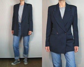 ARMANI Navy Gabardine Blazer / Giorgio Armani Wool Blazer / Structured Italian Wool Blazer / Menswear Blazer / Double Breasted Jacket