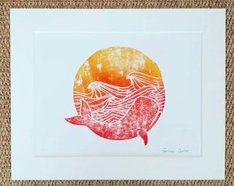 Sunset Whale Lino Print