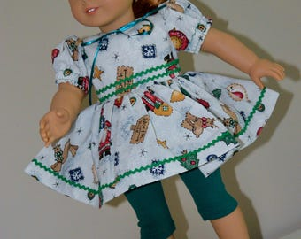 18 Inch Doll Clothes Christmas Print Short Sleeve Dress and Forest Green Capri Length Tights by SEWSWEETDAISY