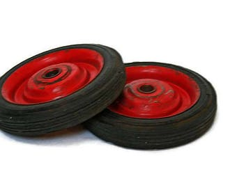 Vintage Wheels  /  2 Rubber Wheels  /  Wagon or Go Cart Wheels  /  Red Wheels for Repurposing  /  Red Rubber Tires