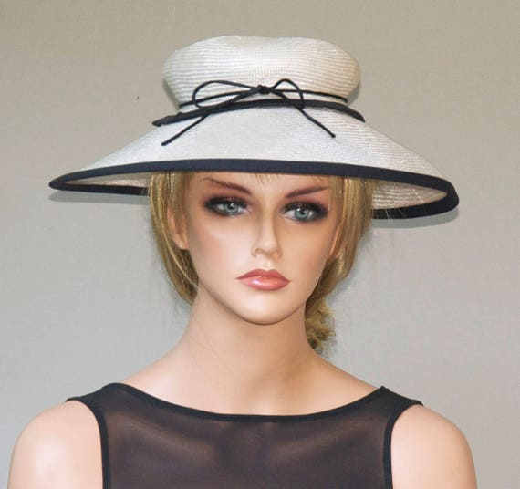 Wedding Hat, Black & White Hat, Derby Hat, Saucer Hat, Church Hat Formal Hat  Royal Ascot Hat Special Occasion Hat
