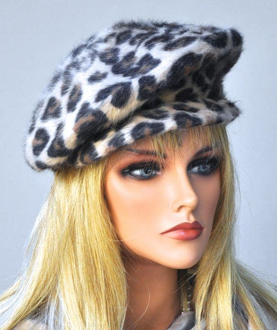 Women's Tan Brown Cap, Winter Beret Cap, Ladies Leopard Hat, Leopard Print Hat women's brown tailored hat, women's camel black hat, Wool Cap