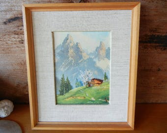 Vintage Textured Print of Chalet Scene and Mountains Made in Western Germany Cardboard Print Cream Linen Matte Light Wood Frame MCM hanger