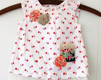 MOVING SALE Red Heart Flower Tunic Dress,Altered Upcycled Child's Tunic,Hanky & Lace Pocket,Sackcloth 1930s Yoyos,Recycled Tunic,Hollywood H